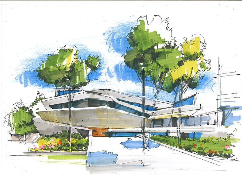amazing architecture sketch using sketch markers for architecture student