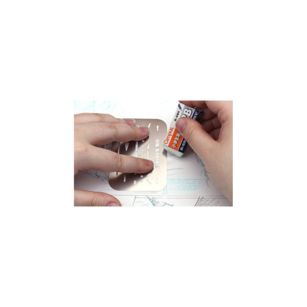 a metal eraser shield for keep drawing and draftings clean, remove unwanted lines easily, eraser shield for architect or engineer or artist