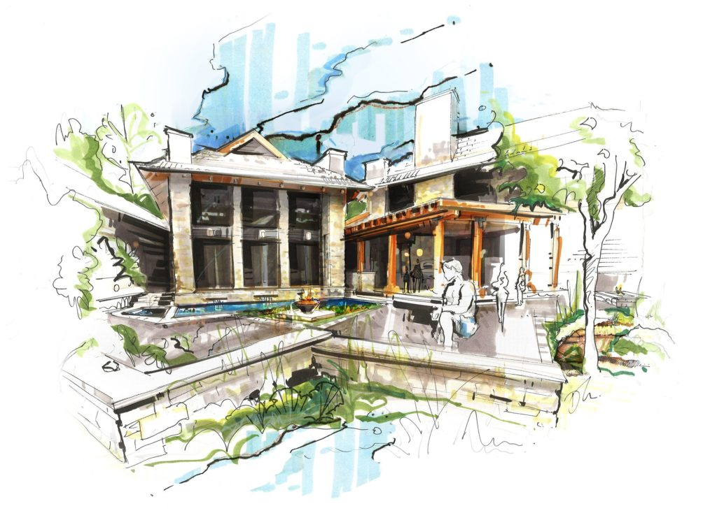 amazing architecture sketch using sketch markers for architecture student number 2