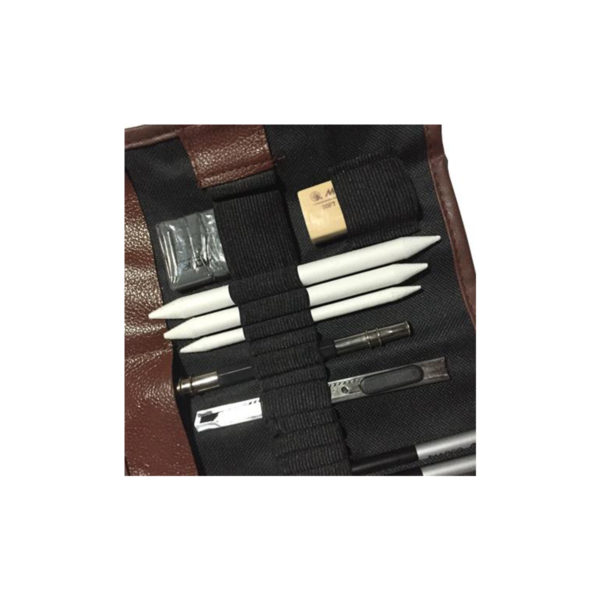 26 piece drawing set with h, b and hb pencils, graphites, leads, charcoal pencils, graphite pencils, erasers, sandpaper block, pens, for architecture students and professional architects