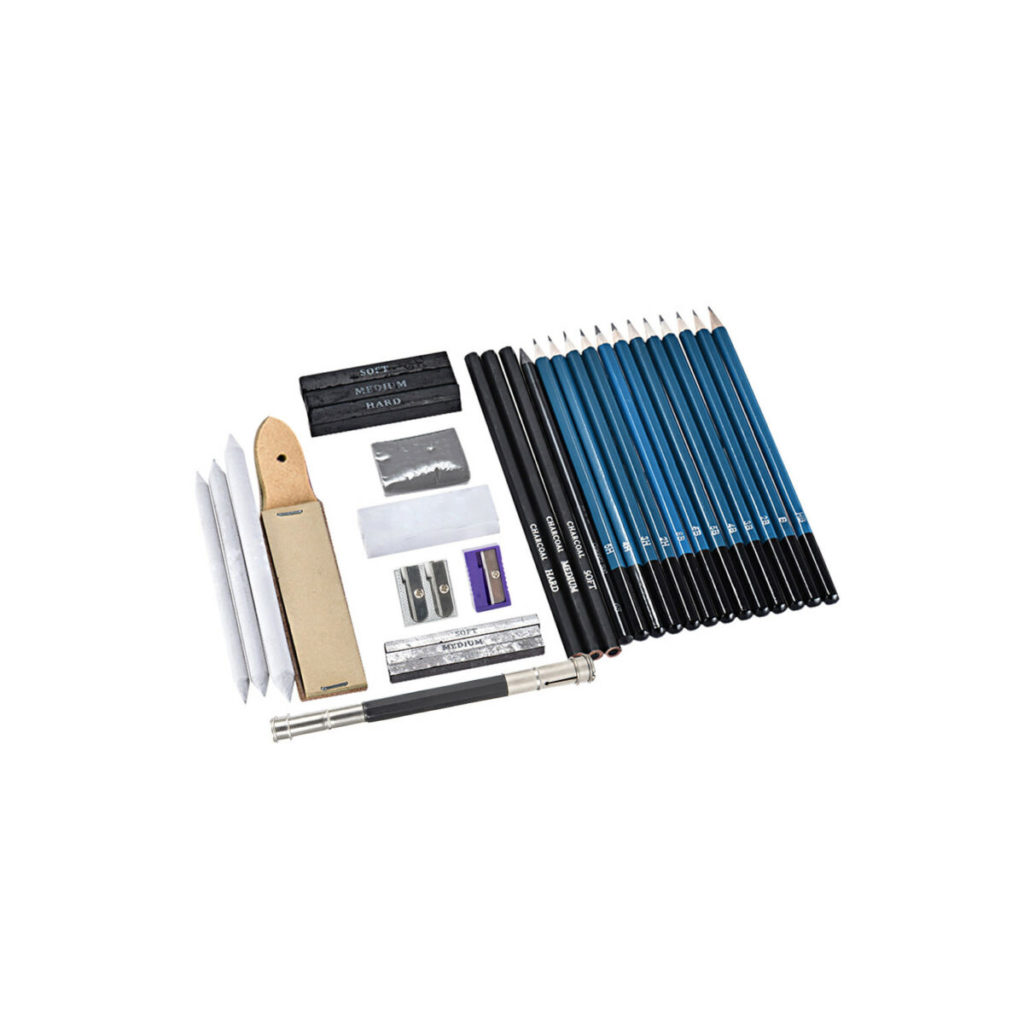 32 piece drawing set with h, b and hb pencils, graphites, leads, charcoal pencils, graphite pencils, erasers, sandpaper block, pens, for architecture students and professional architects